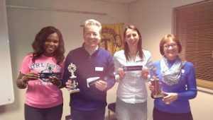 Celebrating wins are, from left, Monica Alabi (Table Topics),   Anthony Brennan (Speaker) and Karen Willis and Judy Mallinson (Evaluators)