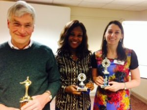 Winners were, from left, Colin Donald (Table Topics), Monica Alabi (Evaluator) and Karen Willis (Speaker).