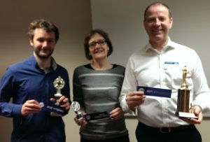 From left: Cathal (Best Speaker), Judy (Table Topics) and Richard (Evaluator)