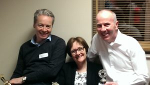 From left, Anthony Brennan (Best Evaluator), Judy Mallinson (Best Speaker) and JJ Lynch (Best Table Topics speaker).