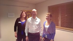 President Richard welcomes the newly inducted Lynn OBrien (left) and Aga Stewart
