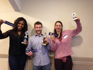 Jubilant winners: Monica (left), Cathal and Karen